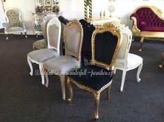 Retro barokní jídelní židle, gold / grey / cerused / white / silver leaf, dining chair baroque