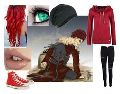 """""""Female Gaara"""" by dancingwithsuperman ❤ liked on Polyvore featuring One Green Elephant, Frame, Converse, anime and naruto"""