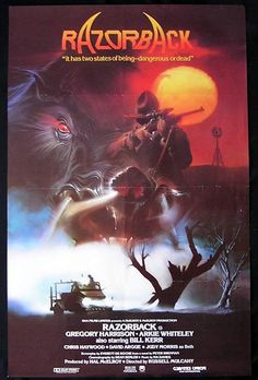 Razorback, Russell Mulcahy, 1984. Preposterous story of a giant, killer-boar on the rampage in the Oz outback. Saved by magnificent moody visuals and an all-pervading atmosphere of impending dread...