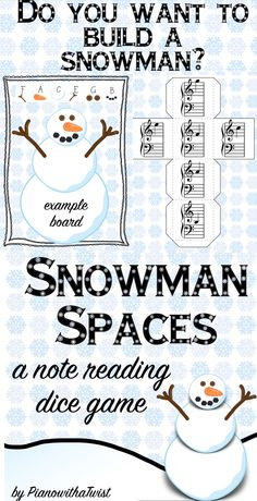 Winter Music Game- review the spaces in the bass and treble clef while building this adorable snowman!
