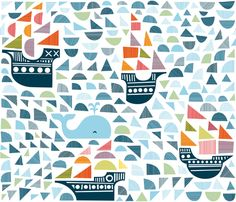 I LOVE this fabric!  It would be perfect for the backing of a quilt.  whale and 4 ships fabric by dennisthebadger on Spoonflower - custom fabric