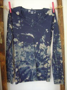Reverse Tie Dye T-Shirt manica lunga cotone. di AdeleDaniele