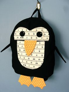 Another version of the Oliver & S penguin backpack - she outlines how she changed it up a bit - I love that measuring tape fabric, lol! Toddler Bag, Toddler Boy Gifts, Animal Backpacks, Kids Backpacks, Bag Sewing, Sewing Crafts, Sewing Projects, Style Hipster, Animal Bag