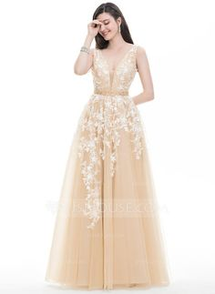 A-Line/Princess V-neck Floor-Length Beading Sequins Zipper Up Regular Straps Sleeveless No Champagne Spring Summer Fall General Plus Tulle Hight:5.7ft Bust:32in Waist:24in Hips:35in US 2 / UK 6 / EU 32 Prom Dress