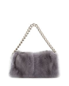 V1ZVP Alexander McQueen Folded Fur Clutch Bag, Gray