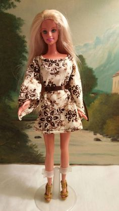 Brown and cream hippy dress for Barbie with shoes