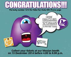 We are pleased to announce a winner from Hebe Tian's Fan club. Congratulations to 1213AlexW!  Your Moxian account number 1213 was selected in conjunction with Hebe's concert on 13th December.
