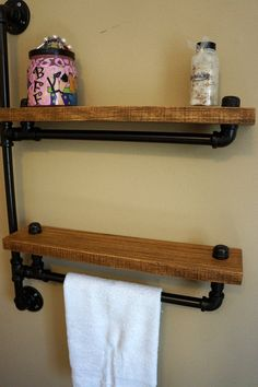 Two Tiered Bathroom Shelf With Towel Bar on Etsy, $159.00