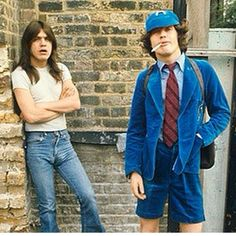 Malcolm and Angus Young - AC/DC - 1976, GBR, London