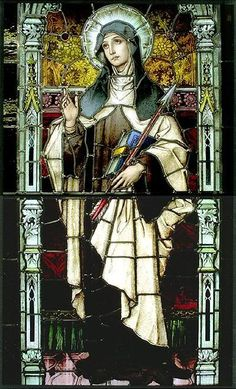 Saint Teresa of Avila Medieval Stained Glass, Stained Glass Church, Stained Glass Art, Stained Glass Windows, Catholic Art, Religious Art, Catholic Saints, Saint Teresa Of Avila, Architecture Religieuse