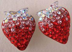 925 silver strawberry stud earrings SE03 W/ red swarovski crystal JEWELRY - http://elegant.designerjewelrygalleria.com/swarovski/925-silver-strawberry-stud-earrings-se03-w-red-swarovski-crystal-jewelry/