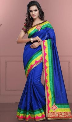 Look dazzling diva in this blue color cotton sari. Look ravishing clad in this attire which is enhanced lace and resham work. #cottonsaris2016design #womencottonsaree #gorgeousbluecolorsari