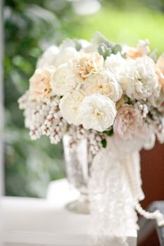Swaths of Lace decorated the centerpieces . very pretty! Flowers by, Event Coordination by, Photography by Flower Centerpieces, Wedding Centerpieces, Wedding Bouquets, Wedding Decorations, Centrepieces, Table Decorations, Floral Wedding, Wedding Colors, Wedding Flowers