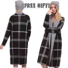 SALE! Boho Plaid Long Cardi Sweater Brand new, chic Long Cardigan Sweater in black plaid from Tea n Cup.    -This trendy cardigan is made of 60% cotton & 40% acrylic, which gives it a super soft feel!   One size fits all! Great staple to have for your closet! ❤️  Bundle & save money by taking advantage of my Automatic Seller's Discount!   FREE gift with every purchase! Tea n Cup Sweaters Cardigans