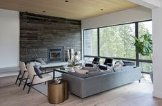 Ami McKay contemporary Whistler home with a modern ski chalet Decor, Basement Decor, Montauk Sofa, Rural Living, Home, Room, Cozy Living, House And Home Magazine, Cozy Living Rooms