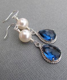 Sapphire and Pearl Crystal Earrings in Silver. Royal Wedding. Bridal. Bridesmaids Gift. Formal. Prom.