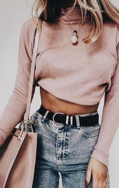 pink rib turtlenecks + high waisted jeans   #ootd #womensfashion #outfitideas