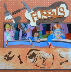 Dinosaur Museum Scrapbook page with Tools, Dinosaur Bones & Fossils title from Dino Play Cricut cartridge.  A page from Everyday Life Album 29