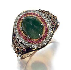 Gold, Platinum, Cabochon Emerald, Ruby, Diamond and Blue Enamel Cuff Bangle