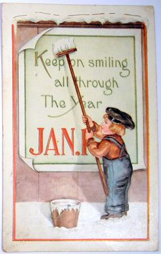 Keep Smiling all through the year- Vintage Card 1917