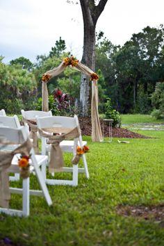 Backyard Wedding Ceremony - altar with burlap
