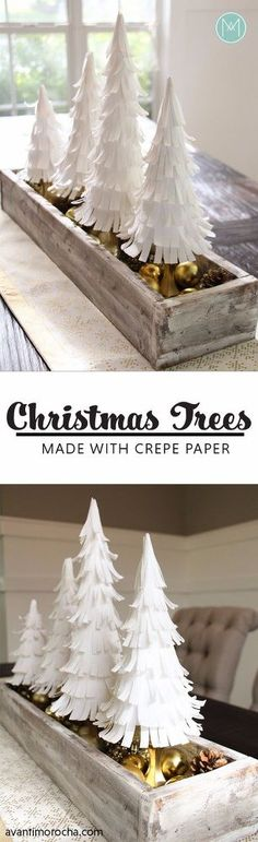 DIY Christmas Trees With Paper Crepe