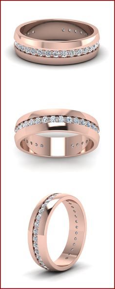 Mens Diamond Wedding Ring in Solid Rose Gold