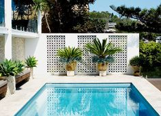 🌟Tante S!fr@ loves this📌🌟Awesome Breeze Blocks Design Ideas Decoor net 2226 – DECOOR Small Backyard Pools, Small Pools, Breeze Block Wall, Living Pool, Modern Pools, Outdoor Areas, Outdoor Rooms, Outdoor Living, Pool Landscaping