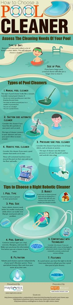 """This infographic titled """"How to Choose a Pool Cleaner"""" aims to guide target audience as to how to choose best pool cleaner for their swimming pools. Many people find it difficult to select a pool cleaner or end up choosing a wrong one. Thus, this infographic provides a step by step guide to choose pool cleaner based on various factors and needs. It also gives information about the types of automatic and robotic swimming pool cleaners  and tips to choose pool cleaners."""