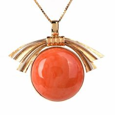 GABRIELLE'S AMAZING FANTASY CLOSET | Natural Large Round Coral Cabochon Pendant set in 18K Yellow Gold |