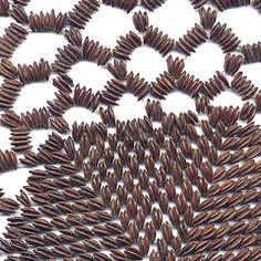 """The seeds in this mat have been scientifically identified as ipil-ipil seeds – actually Leucaena leucocephala. However it is understood that these mats and necklaces were regularly retailed as """"apple seed"""" mats and necklaces and were regularly purchased as Tasmanian souvenirs in the 1970s. They are quite rare now but it seems that they were common in Tasmania in the 1970s."""