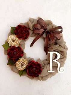 Christmas Door Decor Burlap Christmas Wreath by SouthDoorCreations