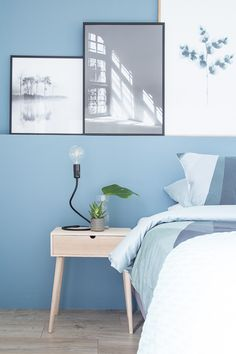 Blue Bedroom Walls, Bedroom Wall Colors, Room Colors, Home Bedroom, Bedroom Decor, Bedroom Door Design, Girl Bedroom Designs, Modern Teen Room, New Room