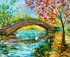 Original oil painting Gapstow Bridge Central Park New York landscape impressionism palette knife fine art texture landscape by Karen Tarlton