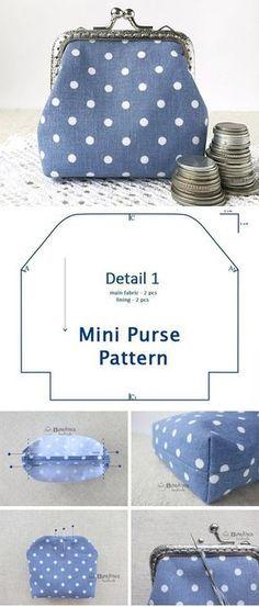 DIY Clasp Coin Mini Purse Tutorial The Mini Purse is a practical work . - DIY Clasp Coin Mini Purse Tutorial The Mini Purse is a practical tool that you can keep under your - Coin Purse Tutorial, Pouch Tutorial, Coin Purse Pattern, Backpack Pattern, Wallet Pattern, Diy Bags Purses, Diy Purse, Coin Purses, Diy Clutch