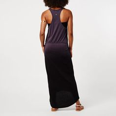Beach Bliss Dress - Racer back maxi dress in purple dip dye. Available in grey black dip dye and two other colours with dreamcatcher print.