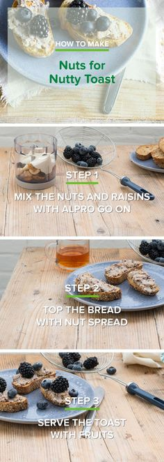 We sure love them nuts, even more in this simply splendid spread! Think: the aroma of freshly toasted nuts, combined with some creamy Alpro Go On Plain, sweet raisins and fresh blueberries. Slice o' toast and we're good to go!  Meal of the day: breakfast - snack.  Ingredients: mixed unsalted nuts - raisins - Alpro Go On Plain - honey - bread - blueberries, blackberries.  Suited for: Lactose-free - vegetarian.