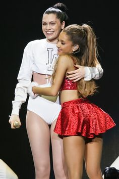 Ariana Grande hugged Jessie J at the Jingle Ball in Los Angeles.