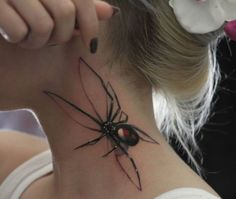 Nice Realistic Spider Neck Tattoo