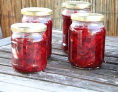 Dżem wiśniowy-imbirowy i sok wiśniowy Salsa, Mason Jars, Salsa Music, Mason Jar, Glass Jars, Jars