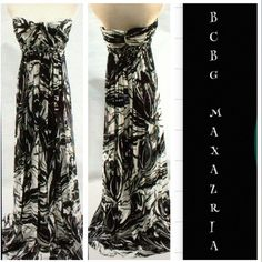 Black White Evening Dress Brand new tag on! Retail price $468 plus tax! Strapless, straps are optional and come with it. Fully lined, with all beads intact. ✨53% rayon, 47% silk ✨ BCBGMaxAzria Dresses