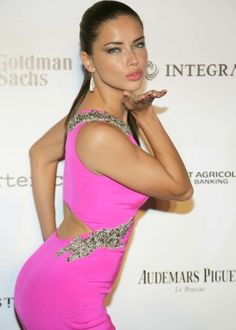 Adriana Lima in Pink Dress -01 - Posted on March 16, 2014