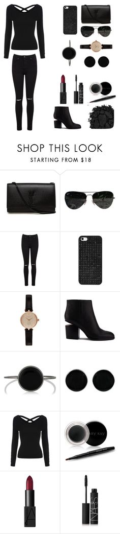 """Lady in black"" by abecic ❤ liked on Polyvore featuring Yves Saint Laurent, Ray-Ban, Miss Selfridge, BaubleBar, Barbour, Alexander Wang, Isabel Marant, AeraVida, Mary Kay and NARS Cosmetics"