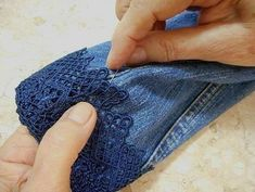 Jeans Refashion, Diy Clothes Refashion, Diy Clothing, Denim And Lace, Embellished Jeans, Embroidered Jeans, Diy Lace Jeans, Lace Shorts, Denim Fashion