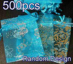500x Random Design Baby Blue Organza Bag Pouch for Gift 7x9cm(2.7x3.5inch), $$38.00