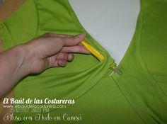 Blusa con nudo en canesú a partir de algunas transformaciones al patrón básico de camiseta