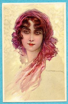 X0029 Corbella postcard, Young woman with scarf, Italian 233-2, Written on