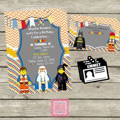 The Lego Movie Invitations Thank You's Emmet Work Badges, Work by Party Posh Printables #LegoMovie #Lego #Party