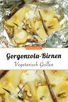 Gorgonzola-Birnen vom Grill Grilled gorgonzola pears – with walnuts – smarter – calories: 274 kcal – time: 40 min. Vegetarian Camping Recipes, Vegetarian Lifestyle, Grilling Recipes, Grill Dessert, Healthy Holiday Recipes, Vegetable Drinks, Food For A Crowd, Eat Smarter, Spartacus