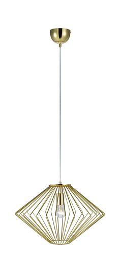 Edge taklampa i metall från Markslöjd. 1,5m sladd med takkåpa för krokupphäng. Stor (E27) lamphållare för max 60W glödljus eller motsvarande styrka i halogen, lågenergi eller LED.  #markslöjd #light #lampa #livingroom #ceilinglight #gold
